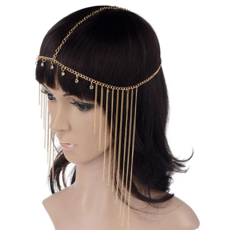 PINKSEE, nueva borla de diamantes de imitación para la frente, diadema Bohemia con cadena de ondas laterales, diadema, diadema para mujer, joyería para el cabello de boda