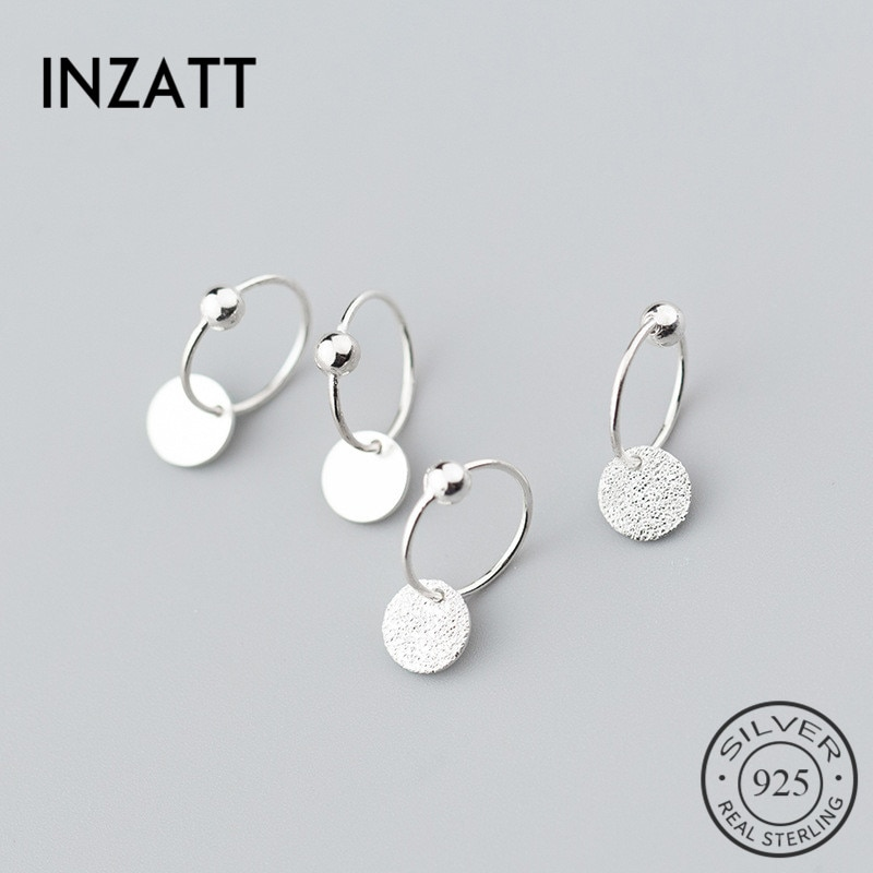 INZATT Real S925 plata esterlina minimalista cuenta redonda pendientes de aro clásicos para las mujeres de moda fiesta joyería fina Accesorios
