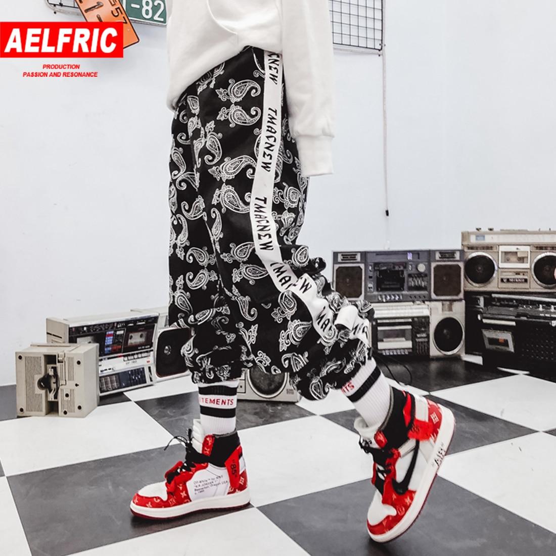 Marca Aelfric 2019, pantalones de chándal informales sueltos, ropa de primavera para mujer, pantalones con estampado geométrico de letras laterales, pantalones Harem de Hip Hop