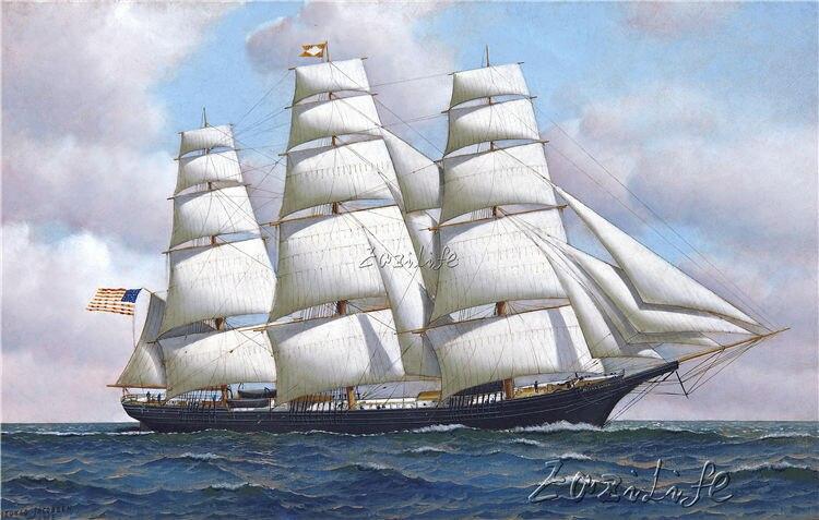 Lienzo naval de la nave pintura al óleo imagen impresa en lienzo 8