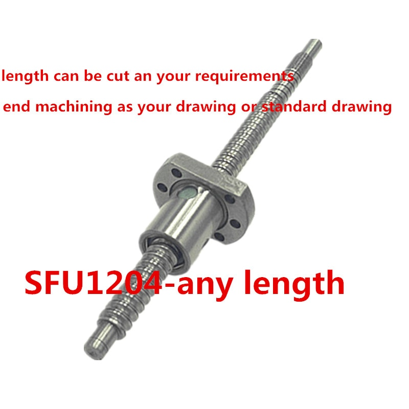 Rodillo frío C7 tornillo de bola 12mm SFU1204 350 400 450 mm ballscrew con extremo mecanizado + 1204 único husillo de bolas cnc z axis patrs