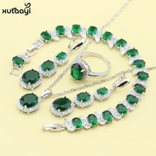XUTAAYI ensembles de bijoux en argent Sterling superposition vert émeraude superbe collier anneaux boucles doreilles/Bracelet pour les femmes cadeau gratuit