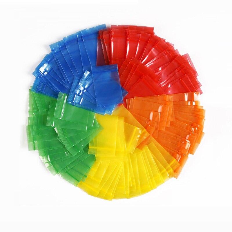 Bolsas pequeñas de Cierre adhesivo PE 200 Uds., Rojas, azul o naranja, amarillas y naranja, resellables y gruesas, bolsas para joyería, Mini bolsas de plástico con cremallera