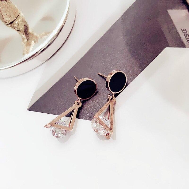 Pendientes geométricos con estilo, pendientes triangulares redondos de circonio, pendientes elegantes simples para mujer, Pendientes colgantes