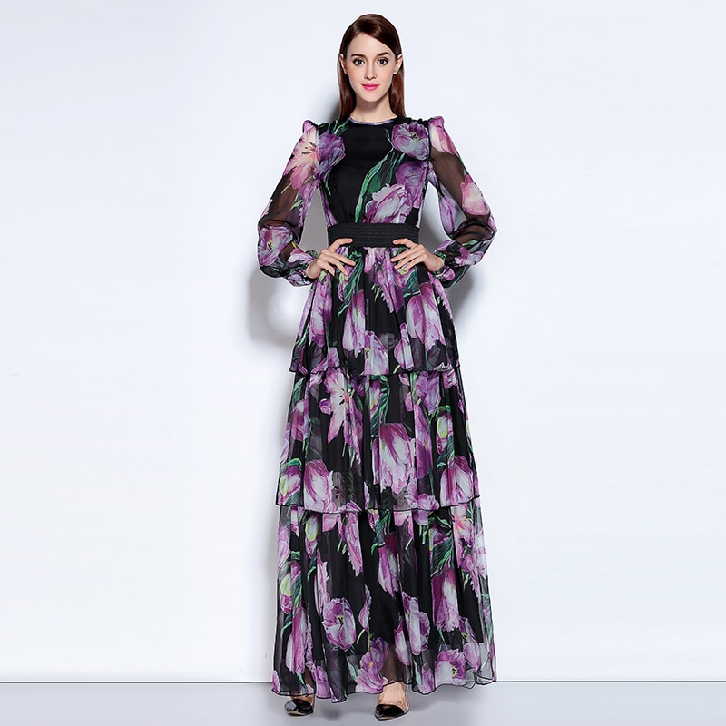 2020 outono mais novo o-neck manga cheia boêmio roxo tulipa impressão expansão temperamento tornozelo comprimento moda vestido longo feminino