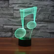 Nota musical 3D ilusión LED lámpara de noche lámpara de escritorio 3D ilusión óptica visualización LED lámparas de noche para mesa lámpara 7 colores Multicolo