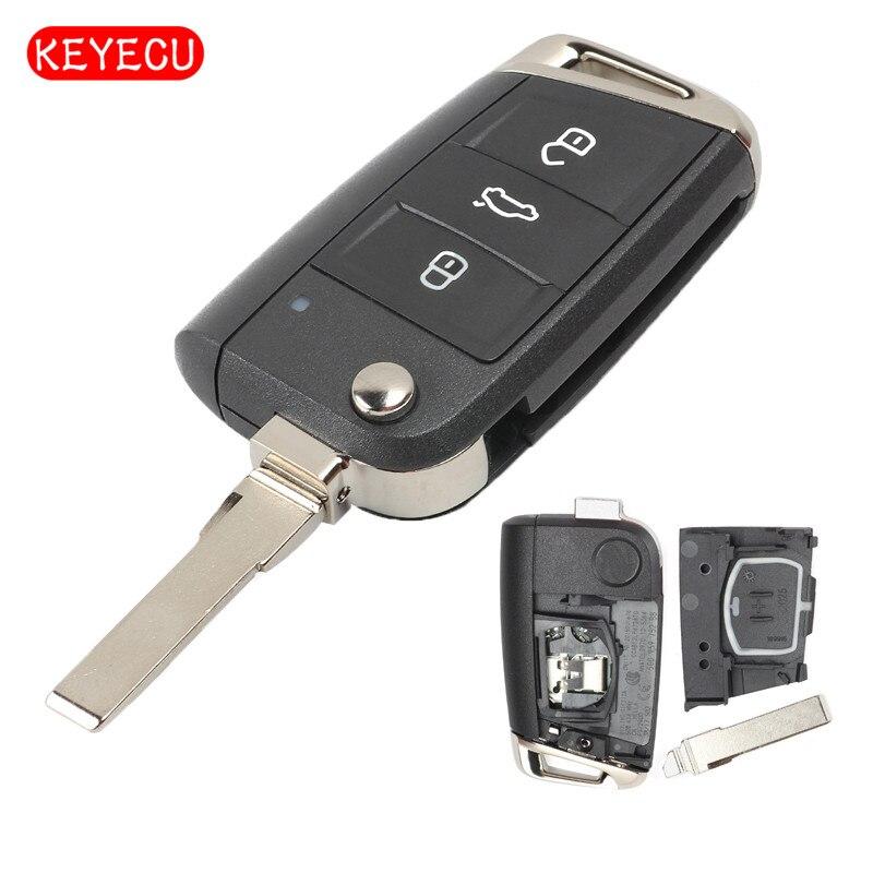 Llavero remoto keyeco 3 botones 434MHz ID48 para Volkswagen MQB Golf VII MK7, para Skoda Octavia A7 2017, 5g095975bc