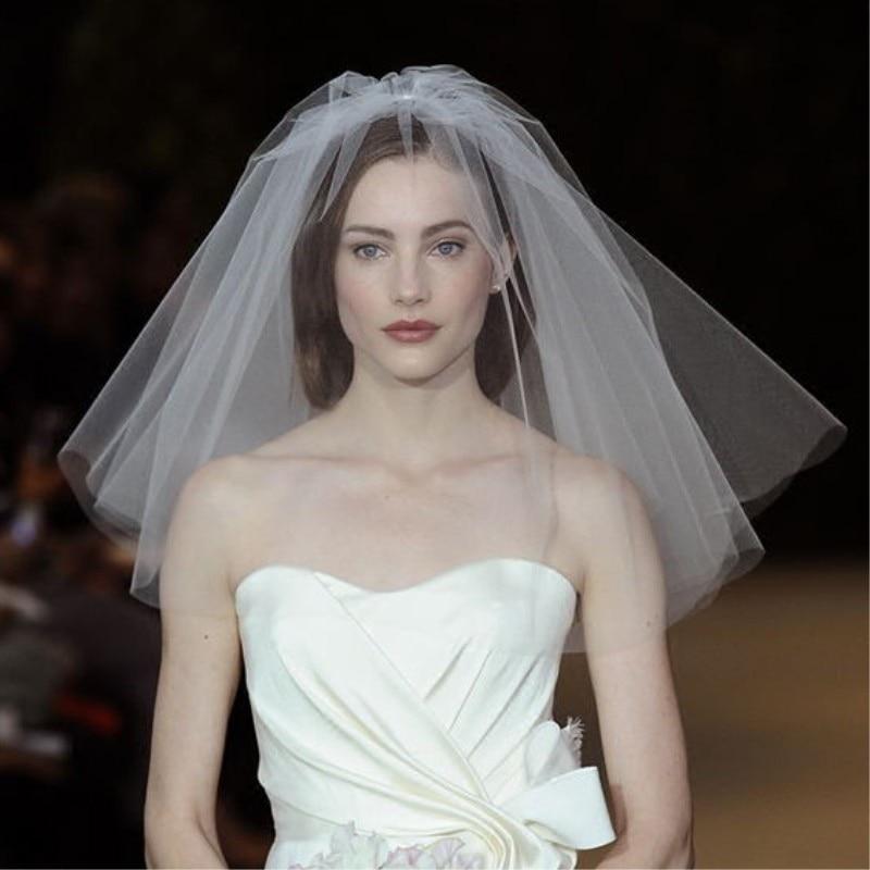Velo de novia de moda 2019, velo de novia Simple de tul de dos capas, accesorios de novia baratos, velos cortos de mujer con peine