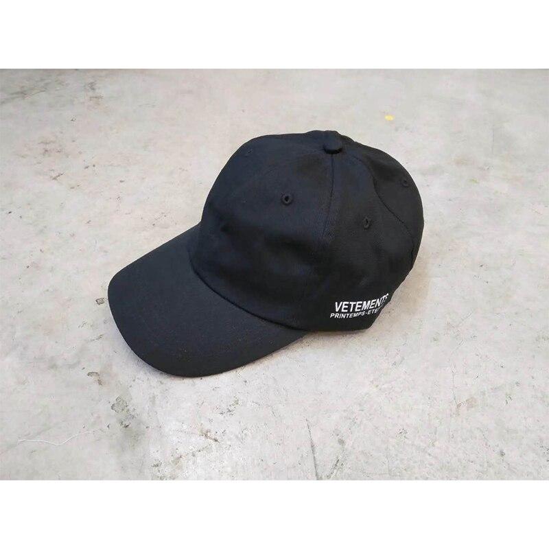 VETEMENTS שחור כובעי PRINTEMPS-ETE2018 לוגו הדפסת VETEMENTS כובע אחד גודל מתכוונן כותנה גברים נשים Visors יוניסקס vetements כובע