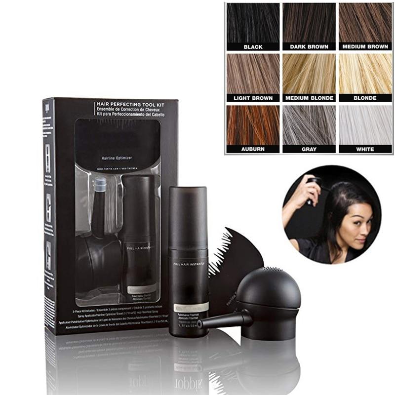 Hair Perfecting Tool Kit for Thinning Hair 3PCS Set Hairline Optimizer Spray Hair Building Fibers For Men & Women 27.5g