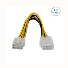 10 pcs/lot 8 broches ATX 12 V CPU EPS P4 câble dextension dalimentation 8pin 18 cm