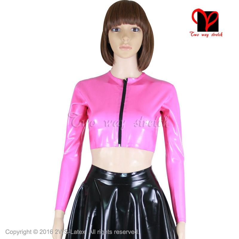 Abrigo de goma Sexy rosa perla manga larga uniforme con cremallera frontal ropa superior ropa de látex Biker vestido peplum chaqueta plus SY-040