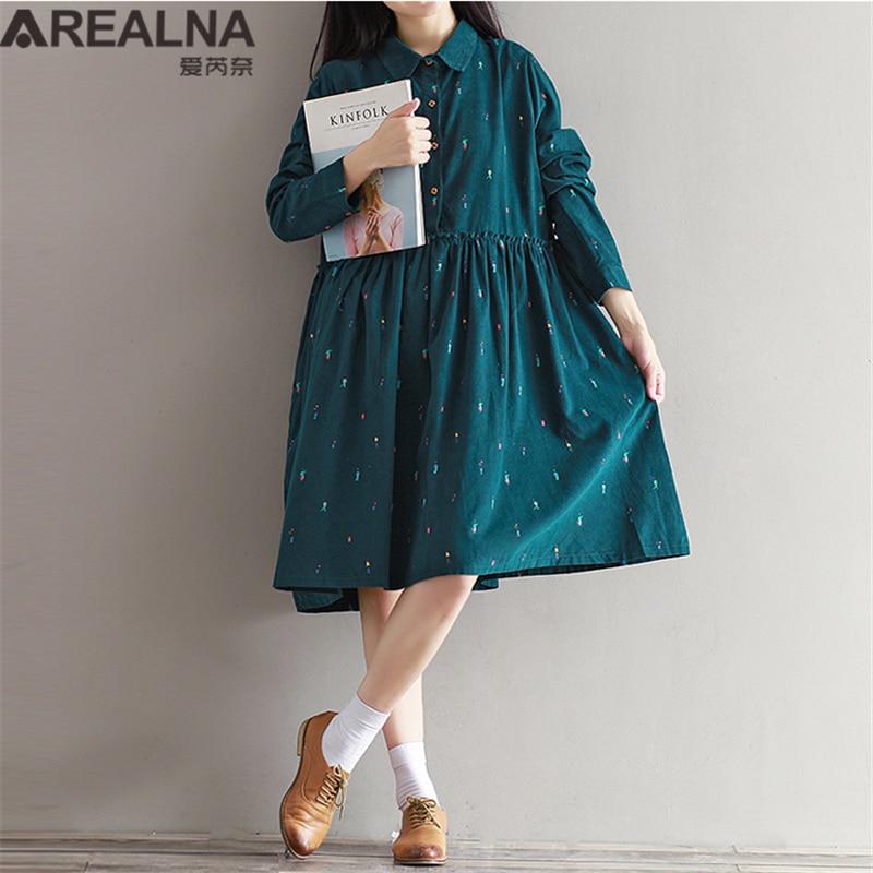 Verde, azul marino azul Vestido Casual manga larga corderoy, terciopelo Otoño Invierno Vestido Mori Girl volante Vestido mujeres túnica vestidos de señoras