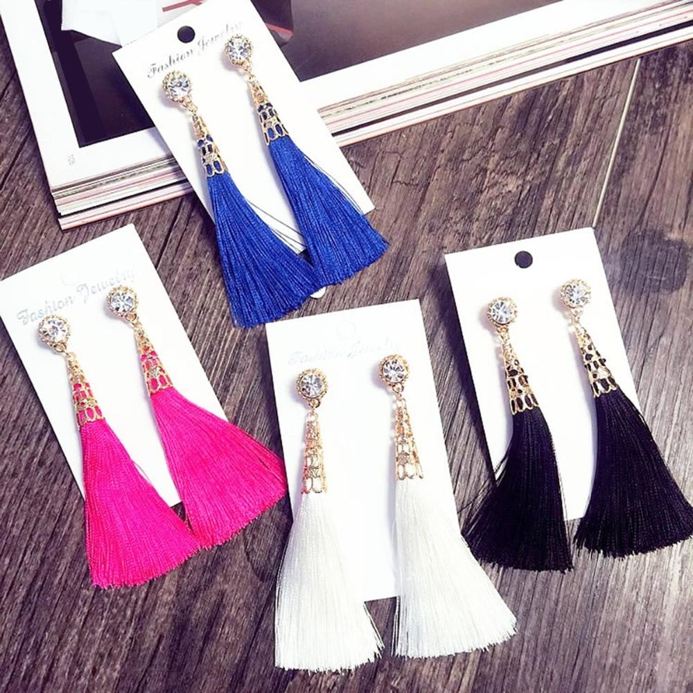 Pendientes borla larga Bohemia rosa/Azul Marino/Marfil/fucsia/Blanco/negro/azul para mujer pendientes colgantes con flecos Vintage joyería