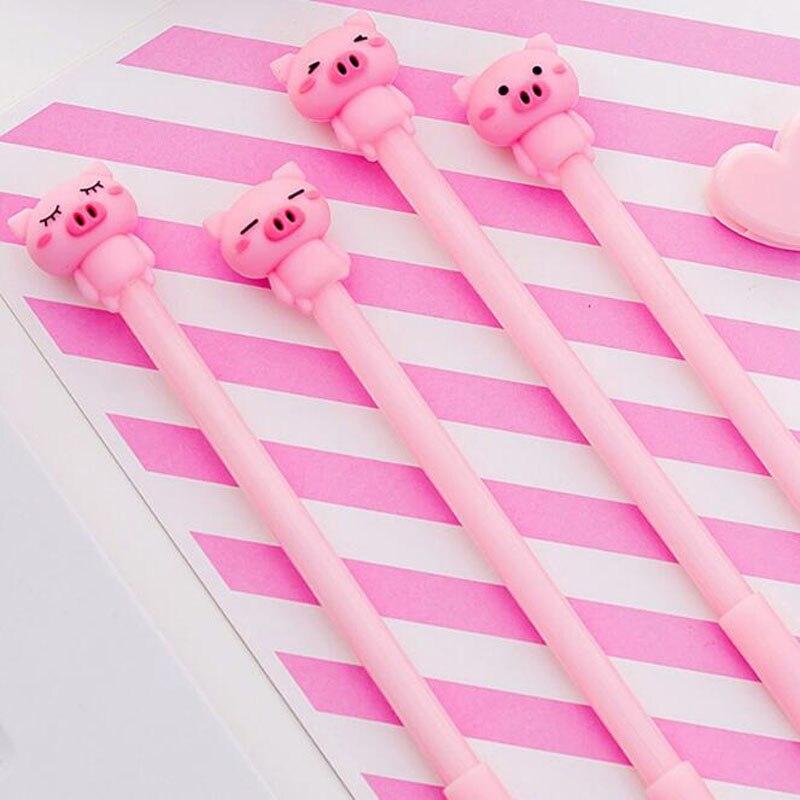 Комплект из 2 предметов Kawaii в виде розовой свинки ручка мультфильм гелевая ручка для творчества студент узнать канцелярских принадлежносте...