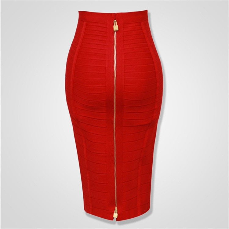 12 Colors Plus Size XL XXL  Solid Zipper Orange Blue Black Bandage Skirt Women Elastic Bodycon Summer Pencil Skirt 58cm
