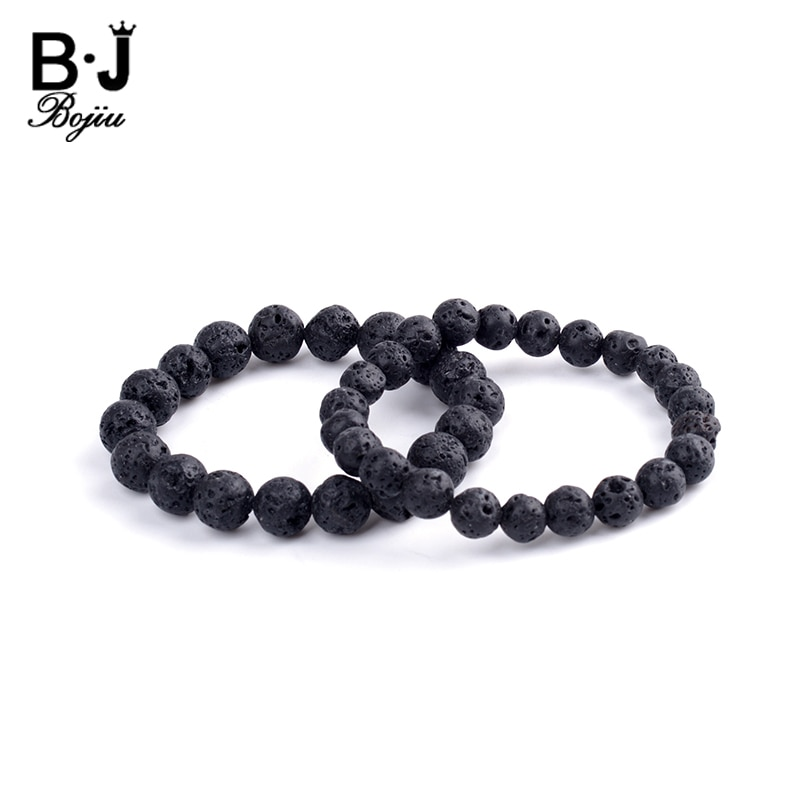 Bojiu Bracelet Men Black Lava stone Beaded Elastic Strand 8mm 1cm bead Simple Bracelet BC131
