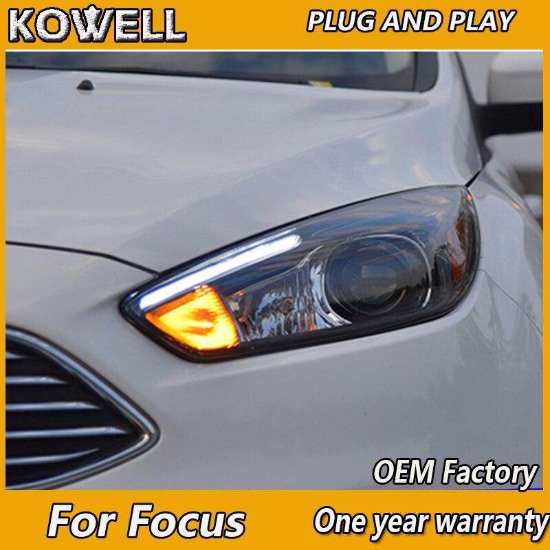 Автомобильный Стайлинг KOWELL, для Ford Focus 3, светодиодная фара 2015, 2016, для focus ST, LED DRL, H7, Hid, Angel Eye, Bi Xenon луч