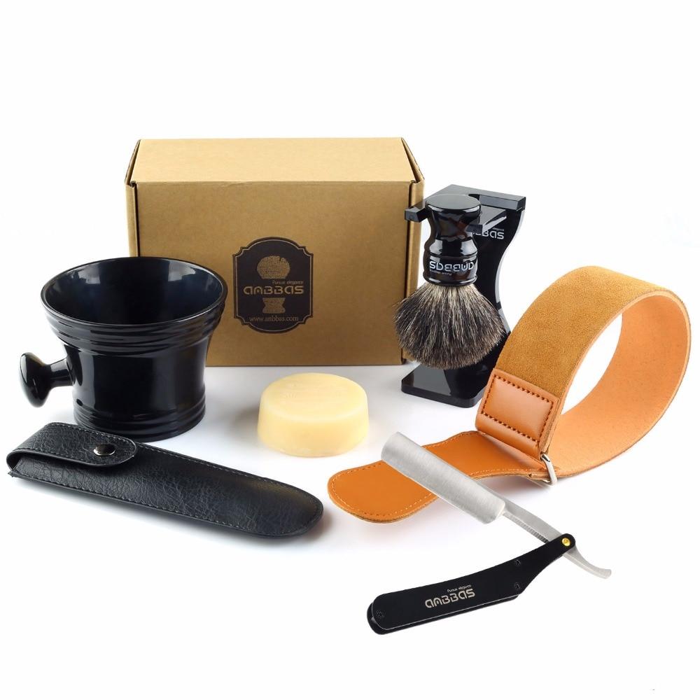Набор для бритья Anbbas, 7 шт., складной нож для бритья из нержавеющей стали, щетка для волос, подставка, миска, мыльница