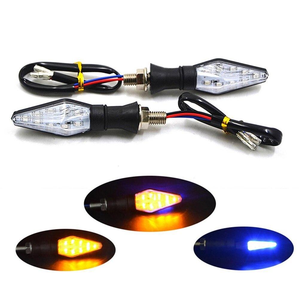 2/4 Uds 12V LED Universal Luz de señal de giro para motocicleta indicadores doble Color parpadeante luz flashing accesorios de motocicleta