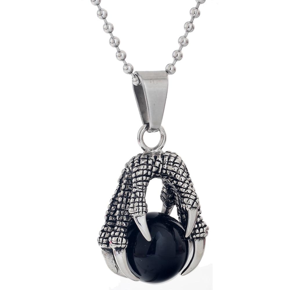 Collar clásico de acero inoxidable con garra de dragón collar con colgante de bola de ópalo negro Punk para hombre Cadena de joyería de moda