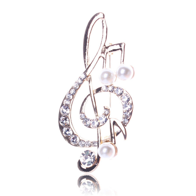 Women's Rhinestone Music Note Scarf Brooch Rose Gold Treble Clef Pin Jewelry