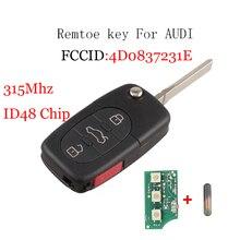 Nouveauté 3 + 1 boutons 315MHZ   Télécommande, porte-clés dentrée sans clé, pour Audi A4 A6 A8 TT avec lame en verre ID48 non coupée