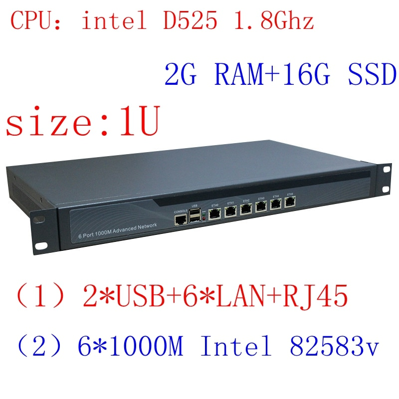 Intel D525 1U Rack Ears Network Server with 1000m Gigabyte LAN support ROS PFSense Panabit Wayos 2G RAM 16G SSD