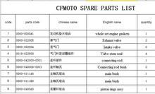 Joints de moteur/douille/tige de liaison/vannes/bagues   Combinaison pour CFMOTO/CFX8