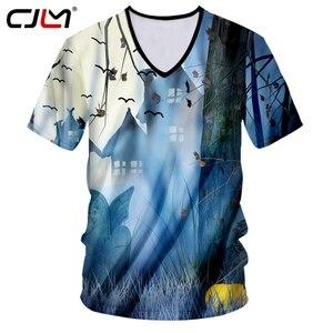 CJLM Autumn New Style Men's Halloween Creative Sports Tee Shirt 3D Printed Bat Pumpkin Personality V Neck Tshirt Big Size 5XL