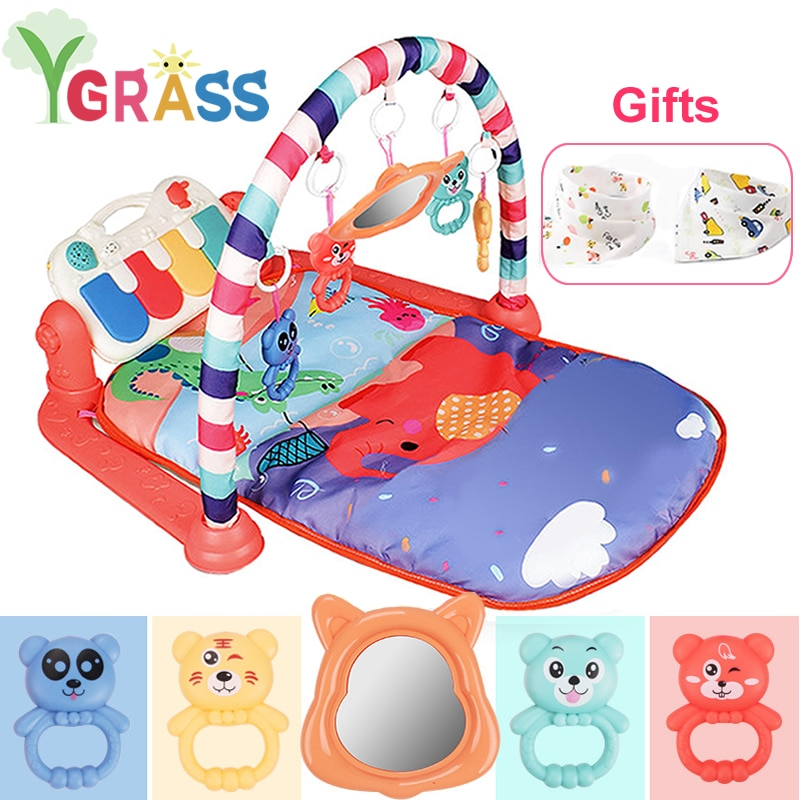 baby activity play mat baby gym educational fitness frame multi bracket baby toys game mats play lay sit toy with piano mirror 3 in 1 Baby Play Mat Kid Gym Toys Infant Carpet Rattles With Piano Musical Playmat Crawling Activity Education Toy