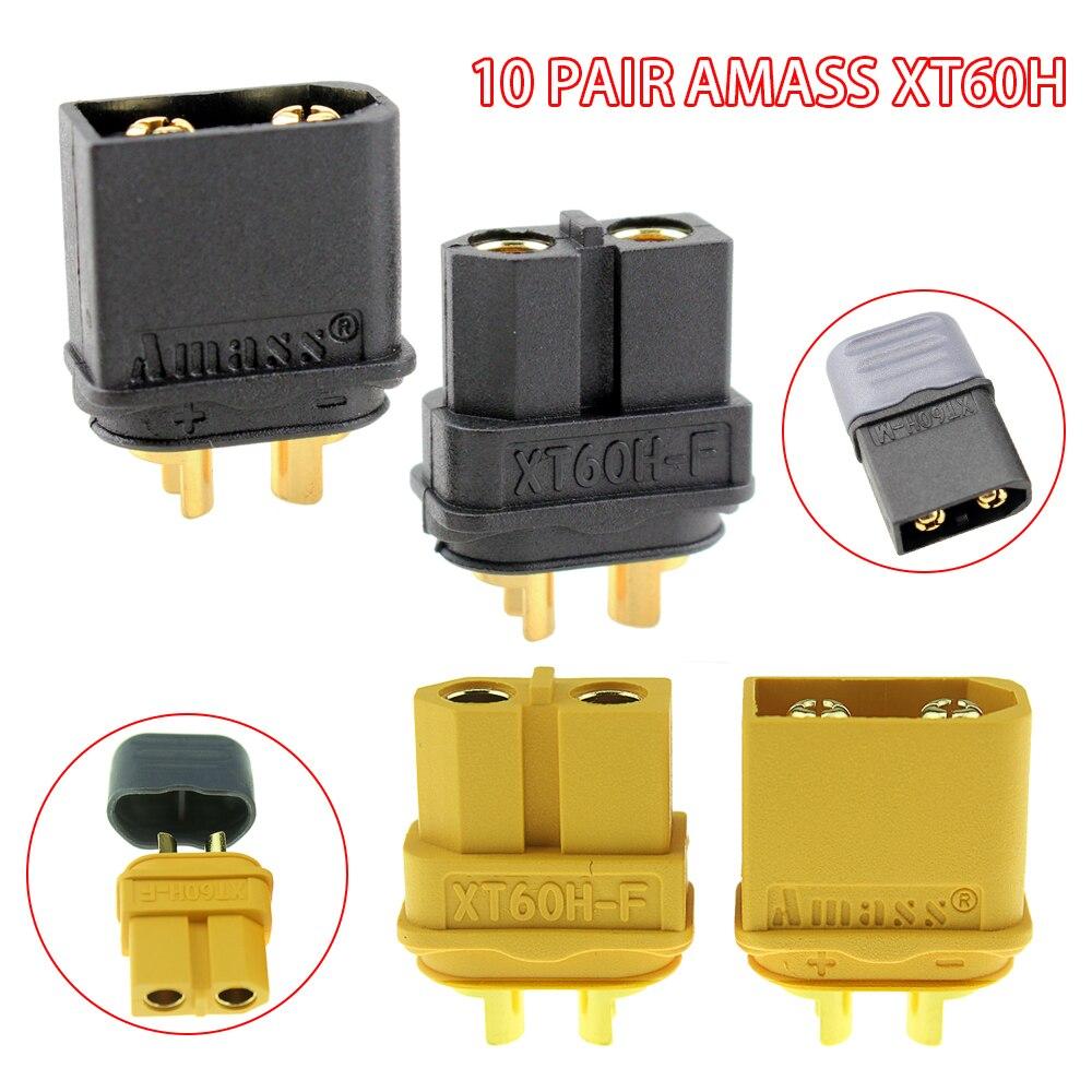 10 par/lote Amass XT60H XT60H-F XT60 toma de conexión de bala con vaina chapada en oro macho hembra para batería Lipo RC