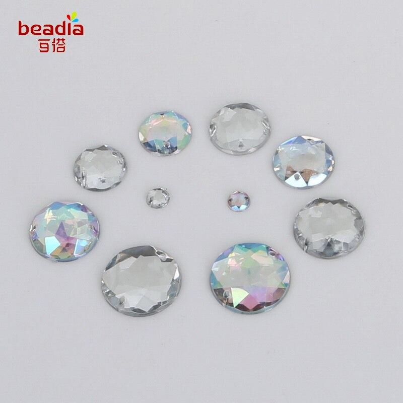 Claro blanco brillante blanco forma redonda doble agujero caída cuerno lado plano acrílico joya para mujer joyería accesorios DIY artesanía 6-20mm