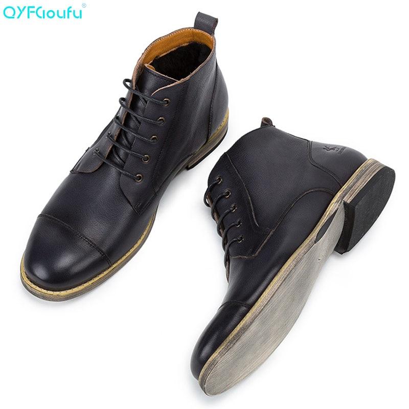 QYFCIOUFU 2019 Autumn Men Boots Vintage Brogue College Style Men Shoes Casual Fashion Lace-up Ankle Boots For Man Black Brown