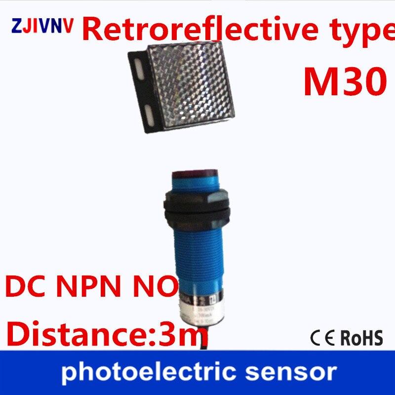 M30 retroreflectivo tipo NPN NO DC 3 cables interruptor de sensor fotoeléctrico/sensor de fotocélula con espejo reflector distancia de la placa 3m