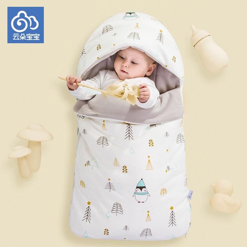 Спальный мешок для новорожденных, конверт из чистого хлопка для новорожденных, завернутый в зимнюю коляску, хорошо сделано в деталях