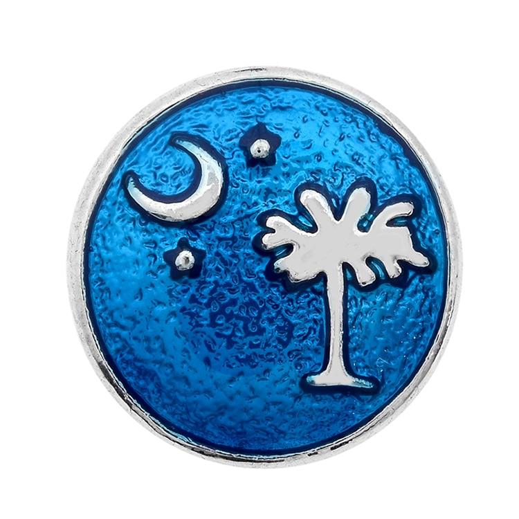 20 unids/lote alta calidad Luna y árbol Snap Diamante de imitación blanco esmalte azul Snap 18MM reloj joyería