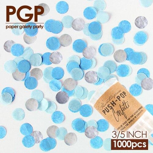 [PGP azul de plata círculo confeti de papel de seda empujar Pop para Navidad bebé ducha cumpleaños Frozens fiesta de invierno