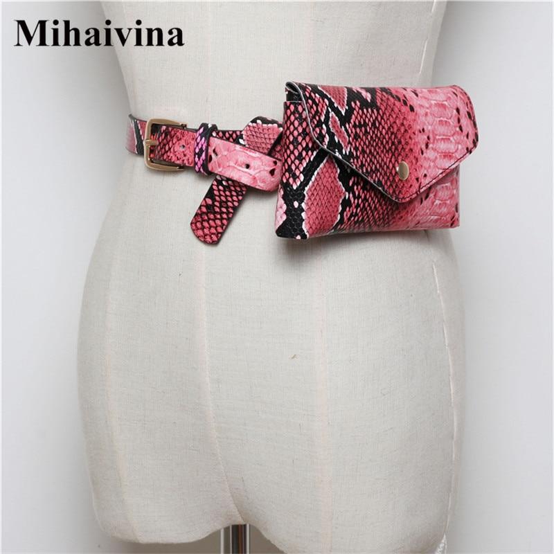 Mihaivina Serpentine Women Waist Pack Leather Fashion Belt Bag Luxury Brand Designer Fanny Pack for Travel Adjustable Phone Bags