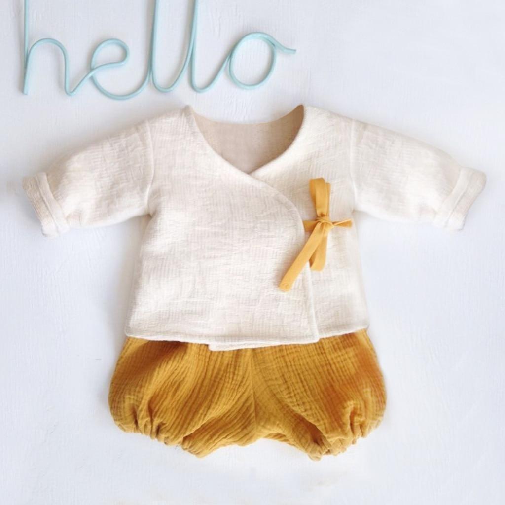 Autumn Baby Boy Girl Clothes Sets Toddler Newborn Outfits Solid Kimono T-shirt  Shorts kit Dropshipping babyborn roupa infantil