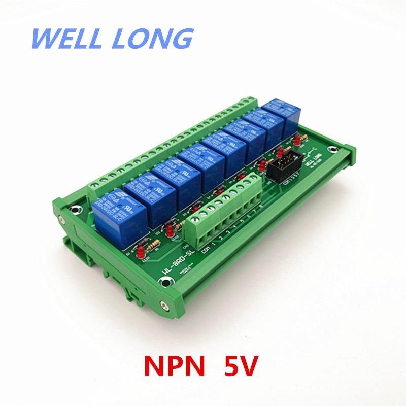 Montaje en carril DIN 8 canales NPN tipo 5 V 10A módulo de interfaz de relé de potencia, relé SONGLE SRD-5VDC-SL-C.