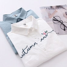 FEKEHA blanc 100% coton femmes école chemise lettre broderie florale bleu hauts dames Blouses à manches longues femme bureau chemise