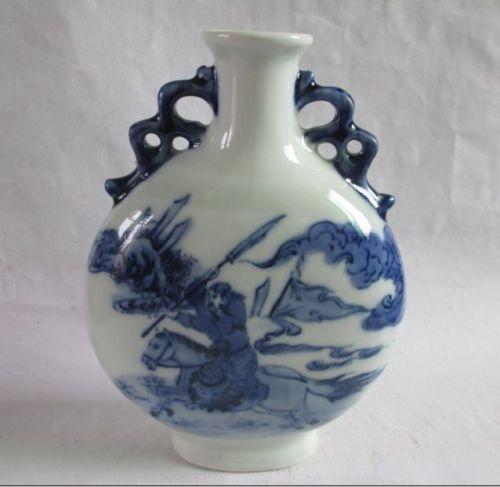 Chinês antigo azul e branco vaso de porcelana o romance dos Três Reinos