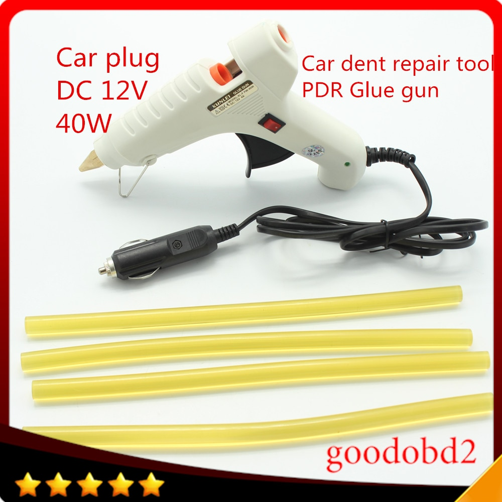 PDR Tools Kit Glue Gun 12V 40W Heat Gun plug + PDR Glue Sticks For Dent Removal Paintless Dent Repair Tools with 4X glue stick