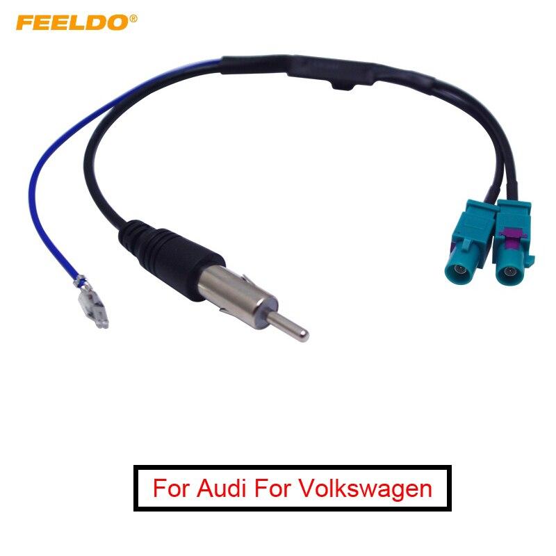 FEELDO 5 uds Dual Separate FAKRA JACKs a DIN Antena de Radio de coche adaptador con amplificador para Audi para Volkswagen sistema de Radio