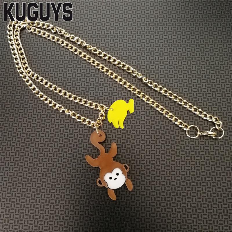KUGUYS, joyería de moda de verano, collar acrílico de Animal para mujeres, colgante de mono moderno, collares, cadena de eslabones de oro