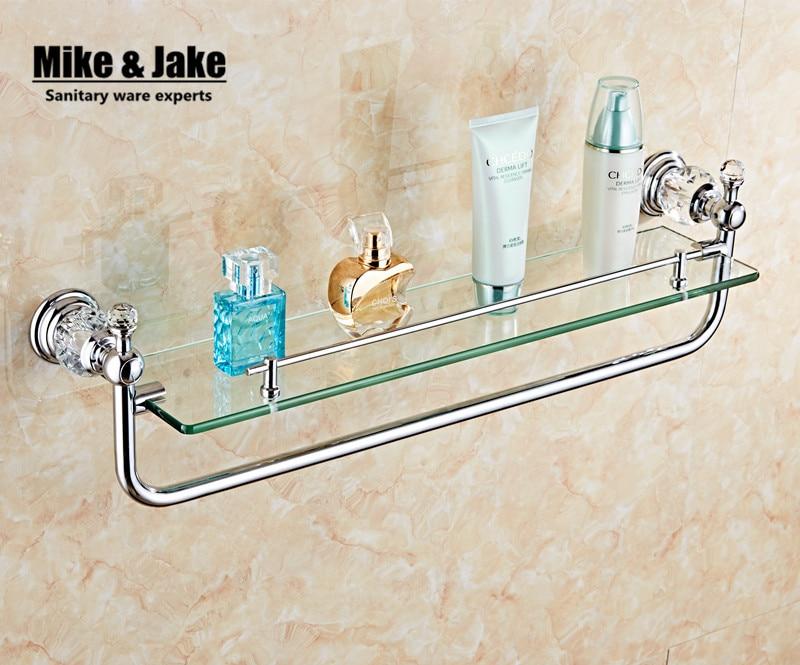 Аксессуары для ванной комнаты хромированная отделка с кристаллом, одиночная стеклянная полка для ванной комнаты полка для душевой комнаты ...