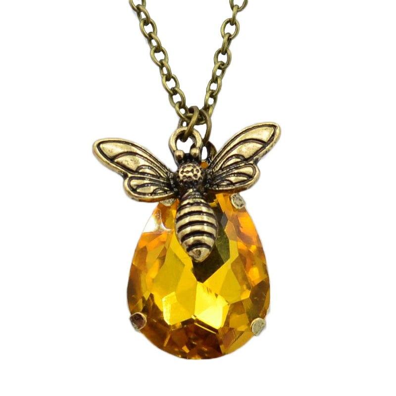 Nova Gota De Água Cristal Colares Adorável Honey Bee Bumble Abelha Colares Graduação Presente do Amante de Jóias Colar Romântico