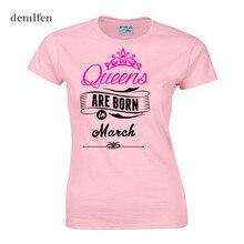 Queen sont nés en mars T Shirt femmes mode t-shirt fille à manches courtes coton t-shirt hauts