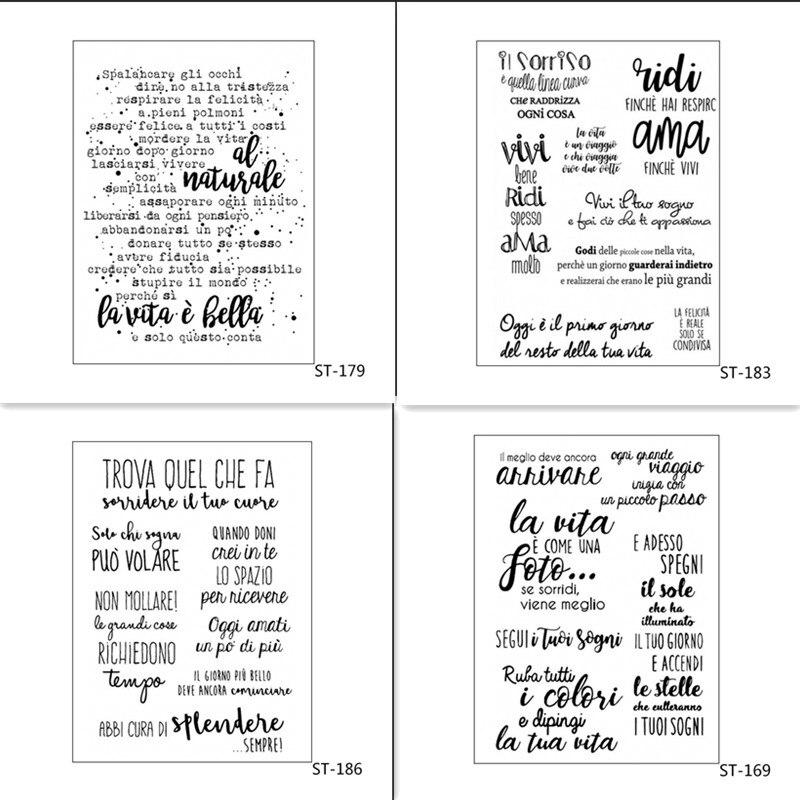 ZhuoAng-tampons/tampons en Silicone Transparent en mots italiens, pour album photo, scrapbooking, bricolage
